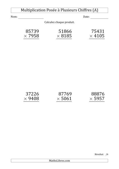 La Multiplication d'un Nombre à 5 Chiffres par un Nombre à 4 Chiffres (Gros Caractère) (A) Fiche d'Exercices sur la Multiplication Posée