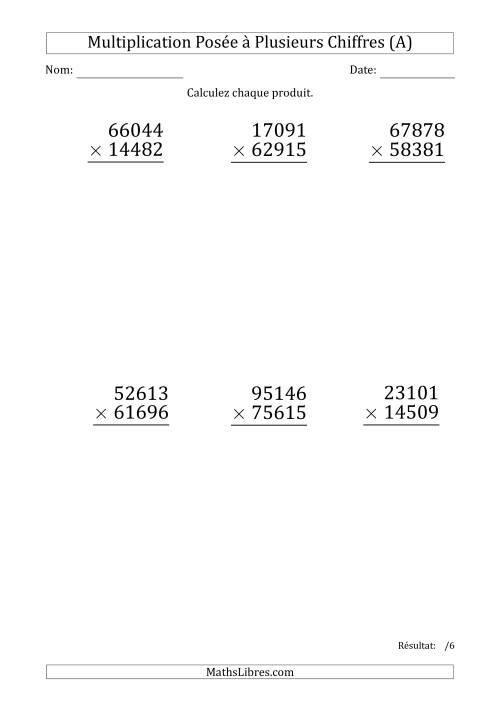 La Multiplication d'un Nombre à 5 Chiffres par un Nombre à 5 Chiffres (Gros Caractère) (A) Fiche d'Exercices sur la Multiplication Posée