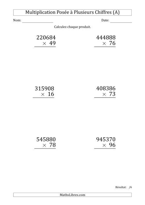 La Multiplication d'un Nombre à 6 Chiffres par un Nombre à 2 Chiffres (Gros Caractère) (A) Fiche d'Exercices sur la Multiplication Posée