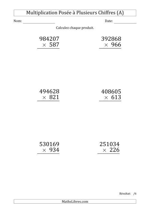 La Multiplication d'un Nombre à 6 Chiffres par un Nombre à 3 Chiffres (Gros Caractère) (A) Fiche d'Exercices sur la Multiplication Posée