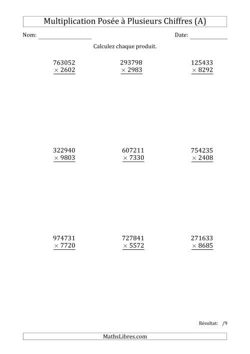 La Multiplication d'un Nombre à 6 Chiffres par un Nombre à 4 Chiffres (A) Fiche d'Exercices sur la Multiplication Posée