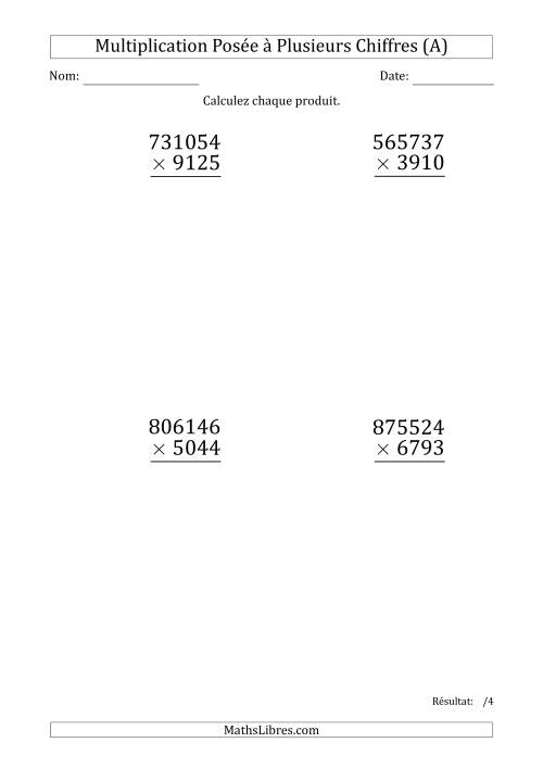 La Multiplication d'un Nombre à 6 Chiffres par un Nombre à 4 Chiffres (Gros Caractère) (A) Fiche d'Exercices sur la Multiplication Posée