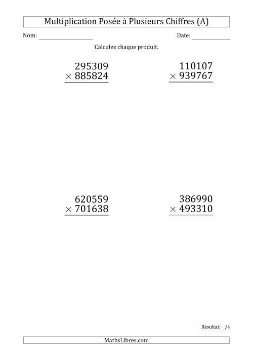 La Multiplication d'un Nombre à 6 Chiffres par un Nombre à 6 Chiffres (Gros Caractère) (A) Fiche d'Exercices sur la Multiplication Posée