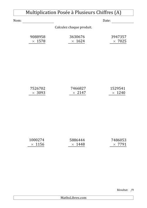 La Multiplication d'un Nombre à 7 Chiffres par un Nombre à 4 Chiffres (A) Fiche d'Exercices sur la Multiplication Posée