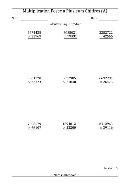 La Multiplication d'un Nombre à 7 Chiffres par un Nombre à 5 Chiffres (A) Fiche d'Exercices sur la Multiplication Posée