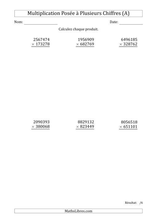 La Multiplication d'un Nombre à 7 Chiffres par un Nombre à 6 Chiffres (A) Fiche d'Exercices sur la Multiplication Posée