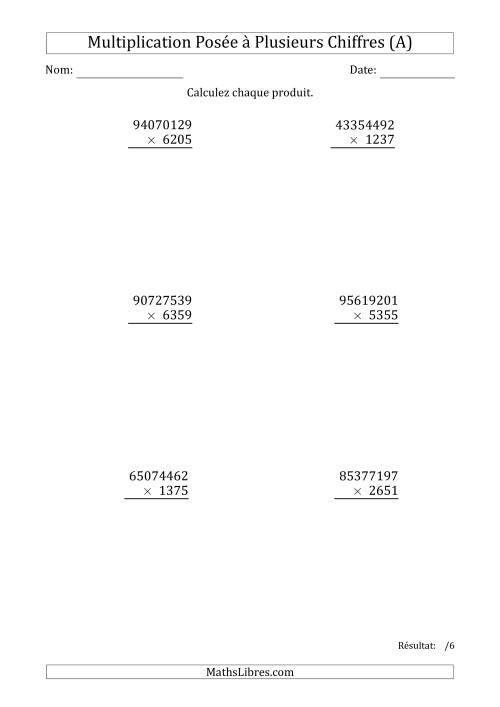 La Multiplication d'un Nombre à 8 Chiffres par un Nombre à 4 Chiffres (A) Fiche d'Exercices sur la Multiplication Posée