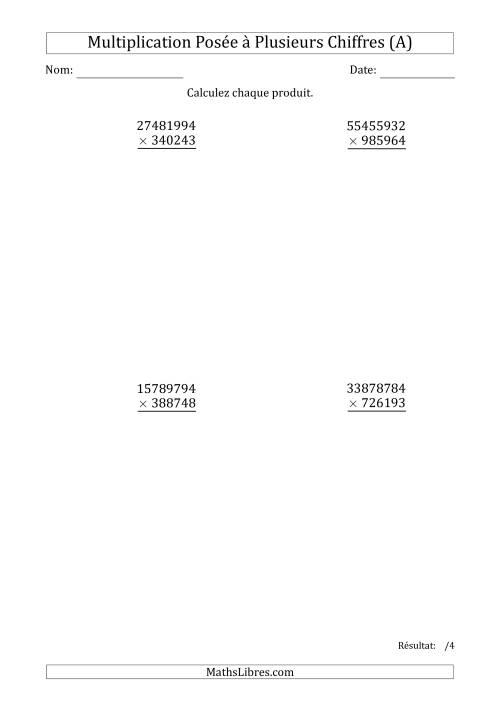 La Multiplication d'un Nombre à 8 Chiffres par un Nombre à 6 Chiffres (A) Fiche d'Exercices sur la Multiplication Posée