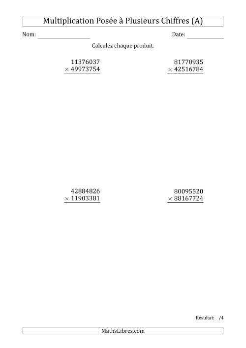 La Multiplication d'un Nombre à 8 Chiffres par un Nombre à 8 Chiffres (A) Fiche d'Exercices sur la Multiplication Posée