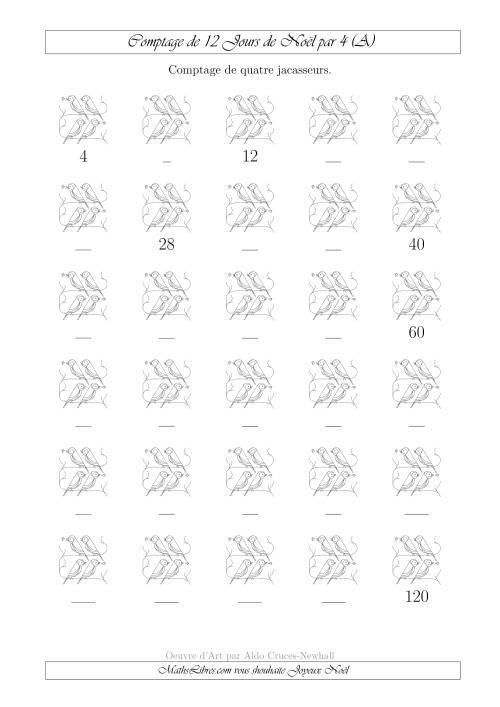 La Comptage de Quatre Jacasseurs au 4ème Jour de Noël (A) Fiche d'Exercices de Maths pour Noël