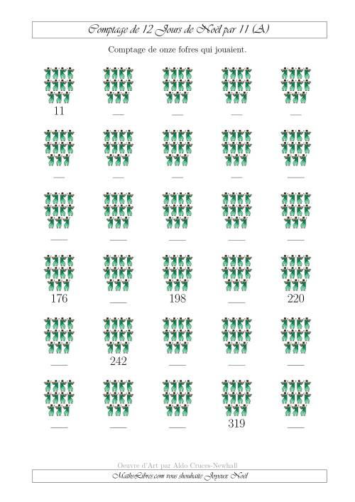 La Comptage de Onze Fofres Qui Jouaient au 11ème Jour de Noël (A) Fiche d'Exercices de Maths pour Noël