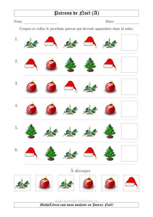 La Motifs de Noël avec Une Seule Particularité (forme) 1ère Partie (A) Fiche d'Exercices de Maths pour Noël