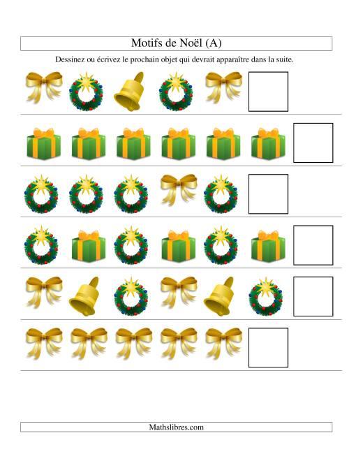 La Motifs de Noël avec Une Seule Particularité (forme) 2ème Partie (A) Fiche d'Exercices de Maths pour Noël