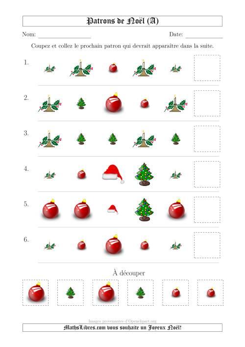 La Motifs de Noël avec Deux Particularités (forme & taille) 1ère Partie (A) Fiche d'Exercices de Maths pour Noël