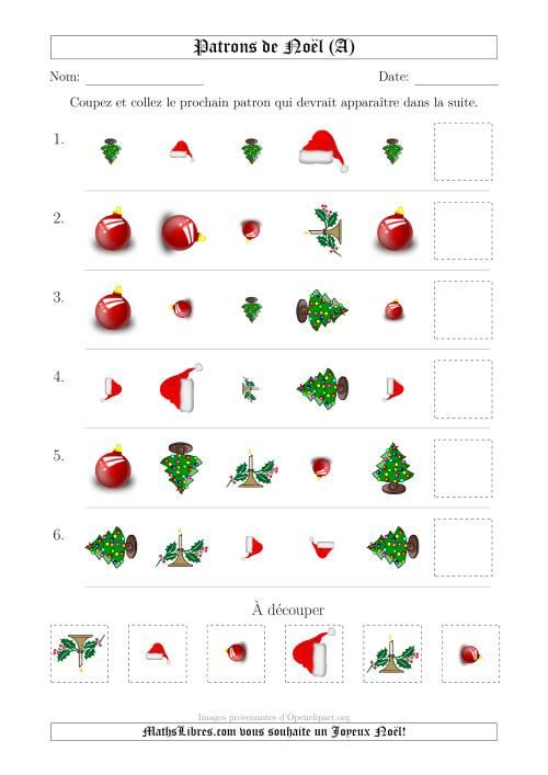 La Motifs de Noël avec Trois Particularités (forme, taille & rotation) 1ère Partie (A) Fiche d'Exercices de Maths pour Noël