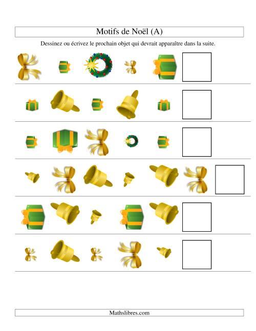 La Motifs de Noël avec Trois Particularités (forme, taille & rotation) 2ème Partie (A) Fiche d'Exercices de Maths pour Noël