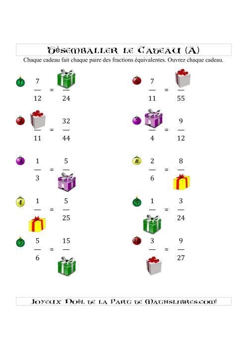 La Désemballez Chaque Cadeau (A) Fiche d'Exercices de Maths pour Noël
