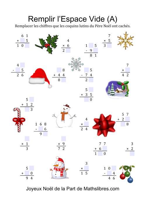 La Remplissez l'Espace Vide (A) Fiche d'Exercices de Maths pour Noël