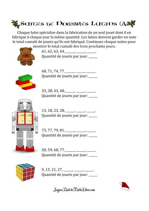 La Suites de Nombre Lutins (A) Activités de Mathématiques pour Noël