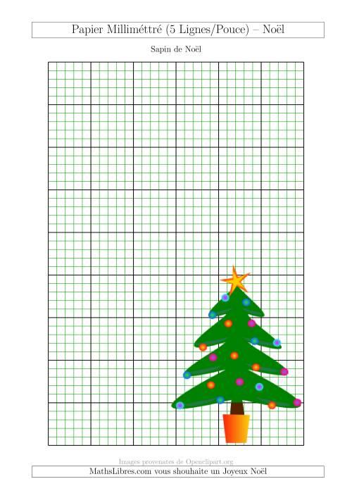 La Papier Milliméttré avec un Sapin de Noël (5 Lignes/Pouce) (A) Fiche d'Exercices pour Noël