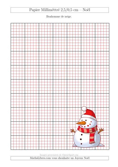 La Papier Milliméttré avec un Bonhomme de Neige (2,5/0,5 cm) (A) Fiche d'Exercices pour Noël