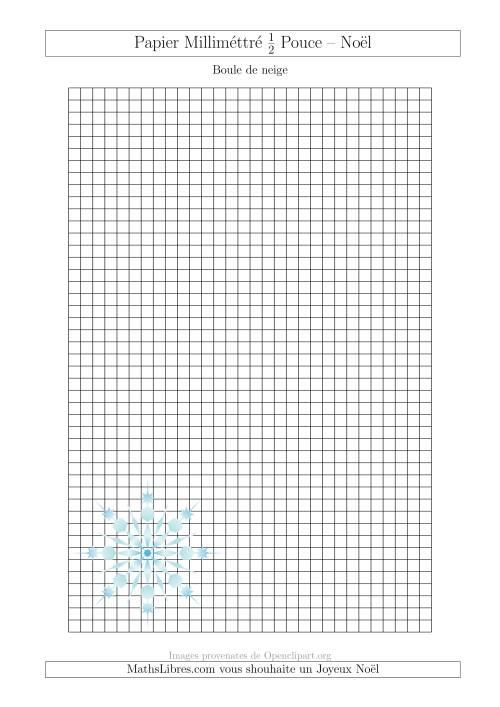 La Papier Milliméttré avec une Boule de Neige (1/2 Pouce) (A) Fiche d'Exercices pour Noël