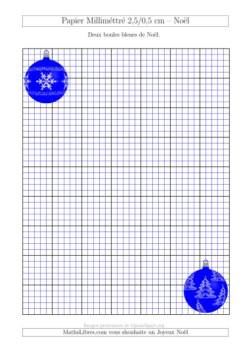 La Papier Milliméttré avec des Boules Rouge et Verte (2,5/0,5 cm) (A) Fiche d'Exercices pour Noël