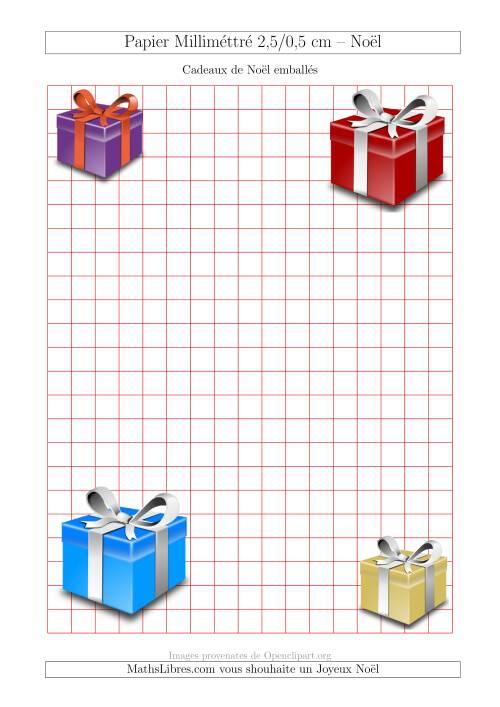 La Papier Milliméttré avec des Cadeaux de Noël Emballés (1 cm) (A) Fiche d'Exercices pour Noël