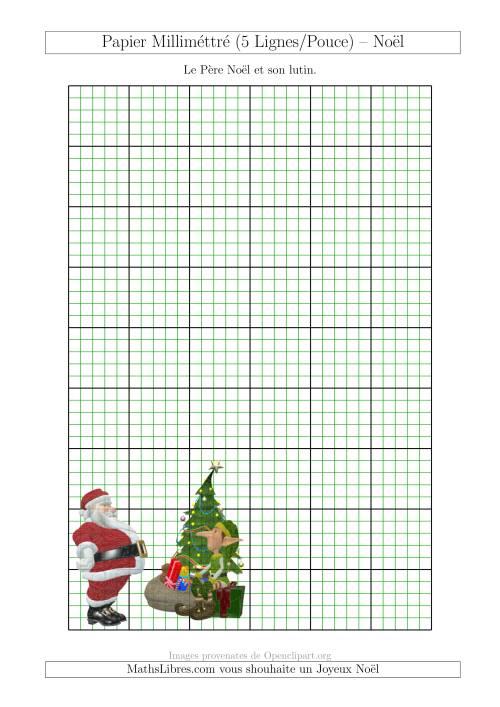 La Papier Milliméttré avec le Père Noël et son Lutin (5 Lignes/Pouce) (A) Fiche d'Exercices pour Noël