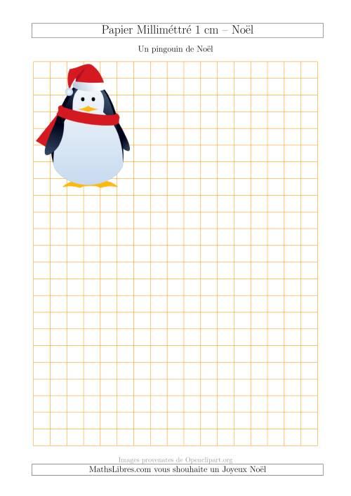 La Papier Milliméttré avec un Pingouin de Noël (1 cm) (A) Fiche d'Exercices pour Noël