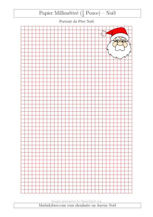 La Papier Milliméttré avec un Portrait du Père Noël (½ Pouce) (A) Fiche d'Exercices pour Noël