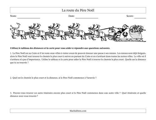 La Route Pere Noël Activités de Mathématiques pour Noël