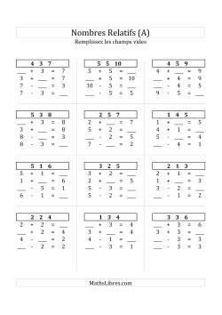 Addition & Soustraction des Nombres Relatifs Jusqu'à 10 (A)