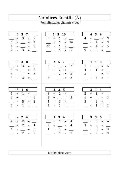 La Addition & Soustraction des Nombres Relatifs Jusqu'à 10 (A) Fiche d'Exercices sur les Nombres Relatifs