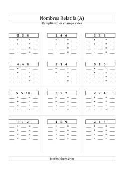 Addition & Soustraction des Nombres Relatifs Jusqu'à 10 (Champs Vides Partout) (A)