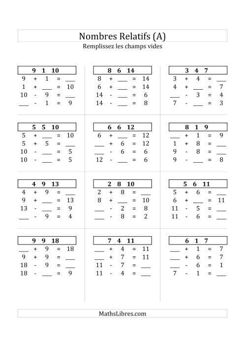 La Addition & Soustraction des Nombres Relatifs Jusqu'à 18 (A) Fiche d'Exercices sur les Nombres Relatifs