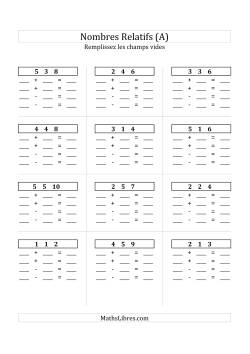 Addition & Soustraction des Nombres Relatifs Jusqu'à 18 (Champs Vides Partout) (A)