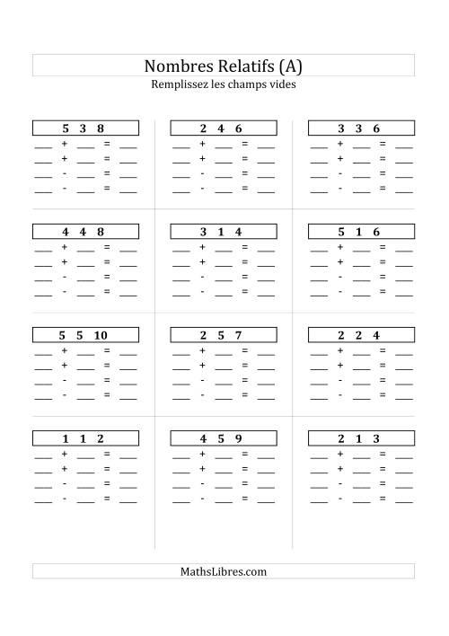 La Addition & Soustraction des Nombres Relatifs Jusqu'à 18 (Champs Vides Partout) (A) Fiche d'Exercices sur les Nombres Relatifs