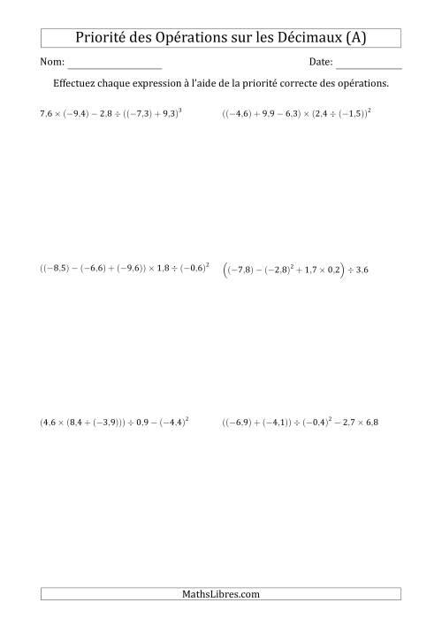 La Ordre des opérations avec nombres décimaux (cinq étapes) -- Toutes opérations (A) Fiche d'Exercices sur l'Ordre des Opérations