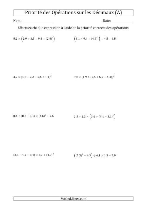 La Ordre des opérations avec nombres décimaux (cinq étapes) -- Toutes opérations (nombres positifs seulement) (A) Fiche d'Exercices sur l'Ordre des Opérations