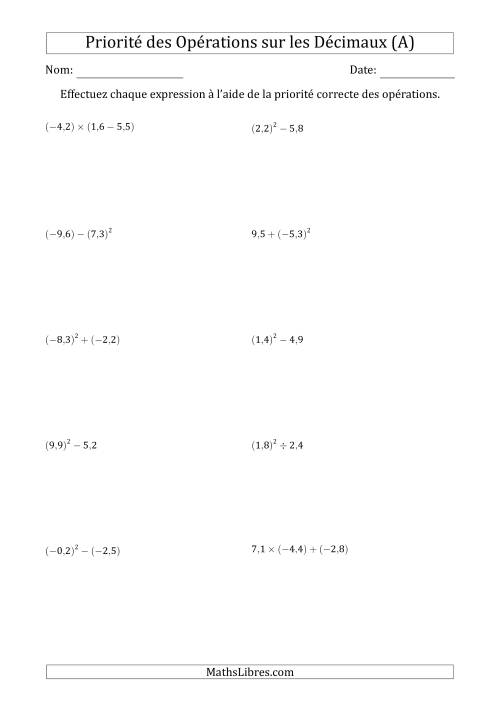 La Ordre des opérations avec nombres décimaux (deux étapes) -- Toutes opérations (A) Fiche d'Exercices sur l'Ordre des Opérations