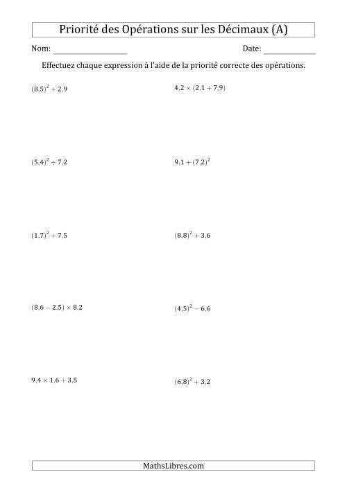 La Ordre des opérations avec nombres décimaux (deux étapes) -- Toutes opérations (nombres positifs seulement) (A) Fiche d'Exercices sur l'Ordre des Opérations