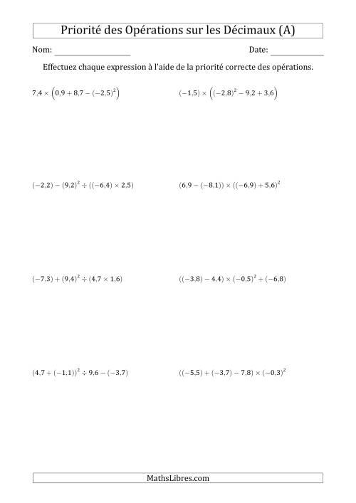 La Ordre des opérations avec nombres décimaux (quatre étapes) -- Toutes opérations (A) Fiche d'Exercices sur l'Ordre des Opérations