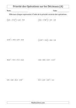 Ordre des opérations avec nombres décimaux (quatre étapes) -- Toutes opérations (nombres positifs seulement) (A)