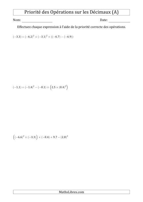 La Ordre des opérations avec nombres décimaux (six étapes) -- Toutes opérations (A) Fiche d'Exercices sur l'Ordre des Opérations