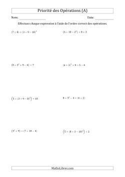 Ordre des opérations avec nombres entiers (cinq étapes) -- Toutes opérations (nombres positifs seulement) (A)