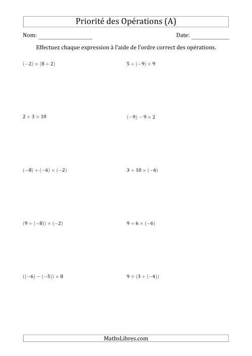 La Ordre des opérations avec nombres entiers (deux étapes) -- Toutes opérations (A) Fiche d'Exercices sur l'Ordre des Opérations