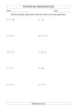 Ordre des opérations avec nombres entiers (deux étapes) -- Toutes opérations (nombres positifs seulement) (A)
