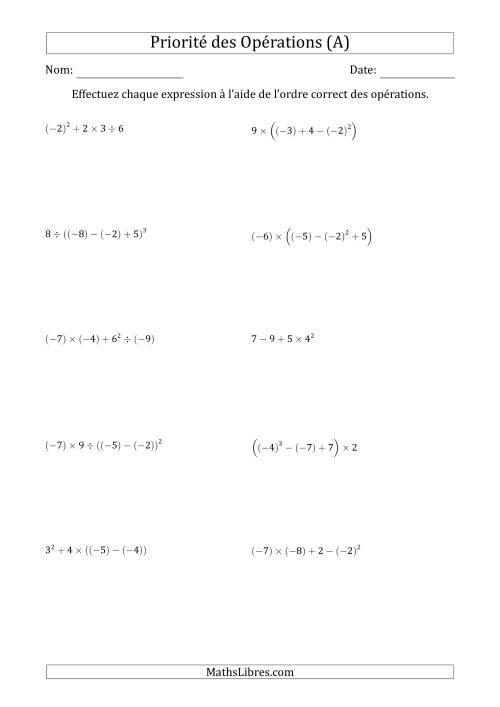La Ordre des opérations avec nombres entiers (quatre étapes) -- Toutes opérations (A) Fiche d'Exercices sur l'Ordre des Opérations