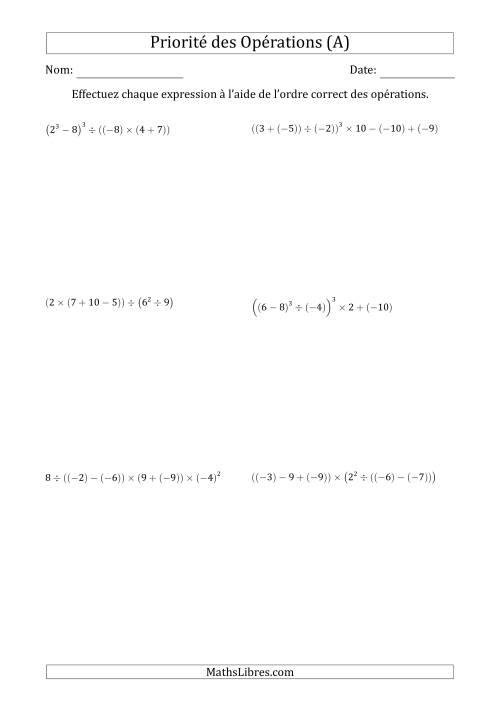 La Ordre des opérations avec nombres entiers (six étapes) -- Toutes opérations (A) Fiche d'Exercices sur l'Ordre des Opérations